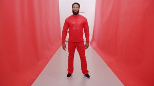 Red Billboard jacket. Red Fitness pant.