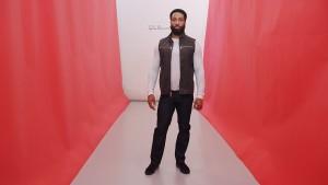 Black waxed cotton canvas Biker vest. Dark indigo 4-stripe jean.