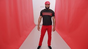 Black/red 5-strpe s/s tee. Red track pant.