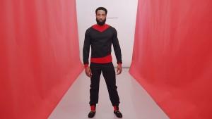 Black/red Billboard sweatshirt. Black/red Billboard sweatpant.